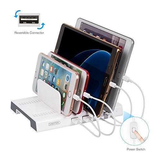 4-Port USB Charging Station Dock with EasyPlug Port, UNITEK 48W/9.6A Desktop USB Charger Organizer Stand, Upgraded Adjustable Dividers Charging Station for Multiple Devices