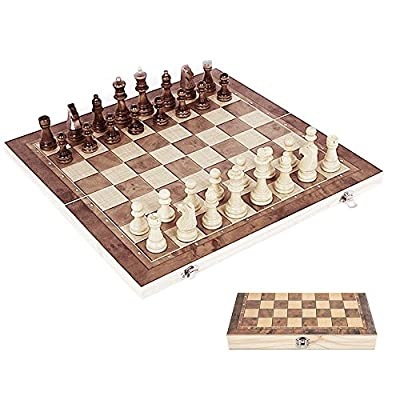 Windyus 3 In 1 Folding Wooden International Chess And Checkers Set -Wood Chess Board Game Portable For Kids Adults