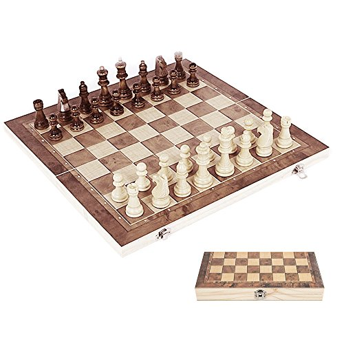 l Chess Set and Checkers Set Folding Wooden Pieces and Tray Chess Board Game Storage Pouches Portable for Kids Adults 3 in 1 ()