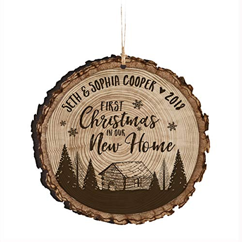 LifeSong Milestones Personalized Our First New Home Christmas Ornament Custom Housewarming Gift Ideas for 1st Married Couple him her (First Christmas in Our Home - Cabin) -