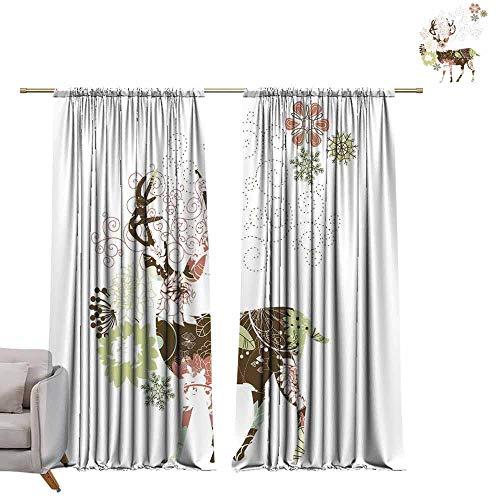 - berrly Thermal Insulating Blackout Curtain Elk Art Mix Design (1) W96 x L96 Waterproof Window Curtain