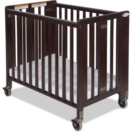 Foundations Hideaway - Foundations HideAway Folding Compact Fixed-Side Crib, Antique Cherry