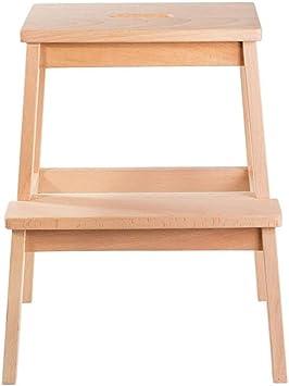 Escalera del taburete de 2 pasos, taburete de escaleras de madera maciza, escaleras de madera de la cocina Taburetes pequeños para pies Banco de zapatos/estante para flores, para adultos y niños, si: