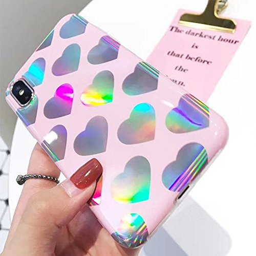 - For iPhone 6 Case 6S Case for Girls Glitter Sparkle Bling Cute Case with Laser Love-hearts Pattern Flexible Soft Slim Fit Clear Cover by Keklle (Pink)