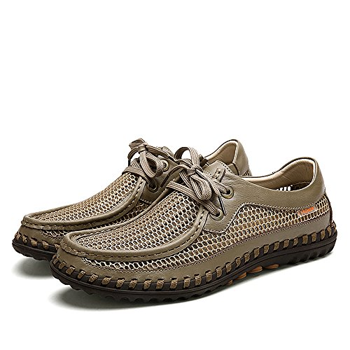 Yuanli Hombres Al Aire Libre Que Camina Con Cordones Holgazanes Zapatos Casuales De Color Caqui