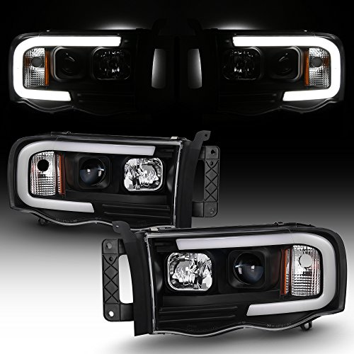 For 2002-2005 Dodge Ram 1500 03-05 2500 3500 Black LED Tube Projector Headlights Pair Left+Right Side (Dodge Ram 2500 Halos)