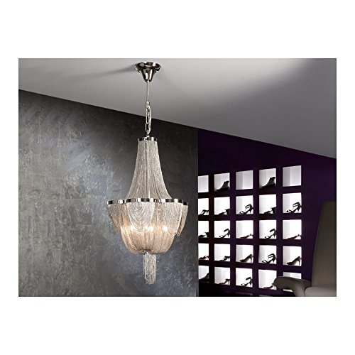 Schuller Spain 872611I4L Traditional Chrome Ceiling Chandelier nickel 6 Light Dining Room, Living Room LED | ideas4lighting by Schuller