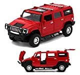 Berry President(TM) 1:32 Hummer H2 SUV Die Cast Toy Car Pull Back With Sound and Light(RED)