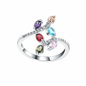 Sterling Silver Multi-color CZ Cublic Zircon Band Ring Womens Wedding Bridal Jewelry US 6.7.8.9