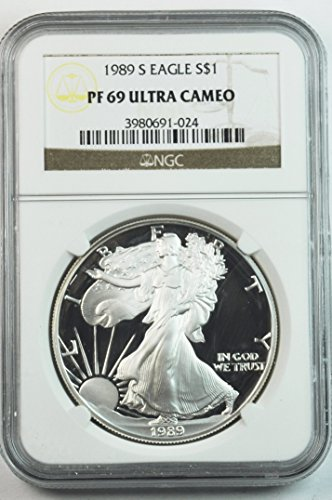 1989 S Proof American Silver Eagle .999 Fine San Francisco $1 PF69 NGC