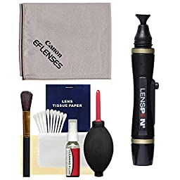 Canon Optical Lens and Digital SLR Camera Cleaning Kit with Brush, Microfiber Cloth, Fluid, Tissue, LensPen and Hurricane Blower for EOS