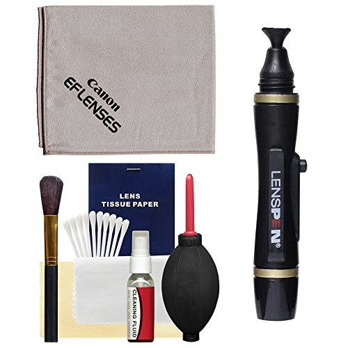 Canon Optical Lens and Digital SLR Camera Cleaning Kit with Brush, Microfiber Cloth, Fluid, Tissue, LensPen and Hurricane Blower for (Canon Cleaner)