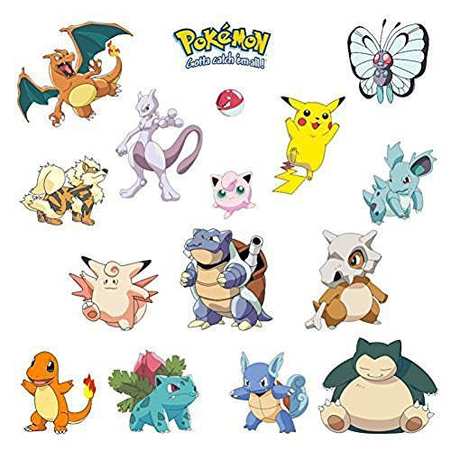 Giant Wall Decals for Kids Rooms, Nursery, Baby, Boys & Girls Bedroom Peel Stick, Large Removable Vinyl Wall Stickers. Pokemon cards -