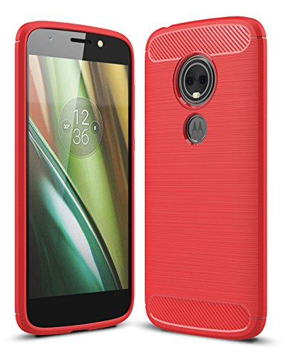 Moto E5 Play Case, Moto E5 Cruise Case with HD Screen Protector UCC Frosted Shield Luxury Slim TPU Bumper Cover Carbon Fiber Design and Anti-Scratch and Non-Slip Cover for Moto E5 Play(Red)