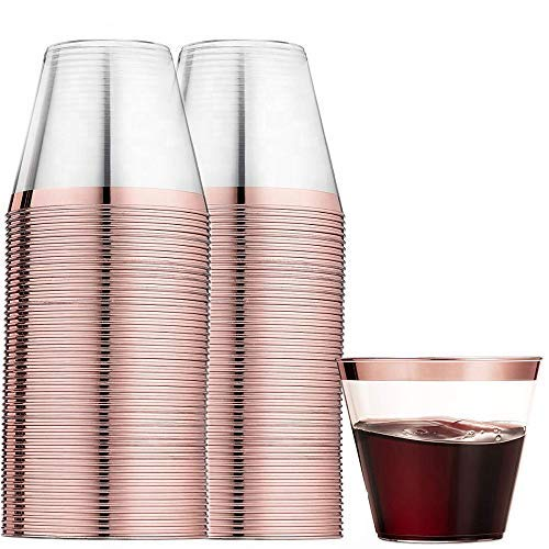 100 Rose Gold Plastic Cups 9 oz - Beautiful Elegant Party, Wedding, Holiday, Celebration Disposable Rose Gold Cup by Precision Elegance