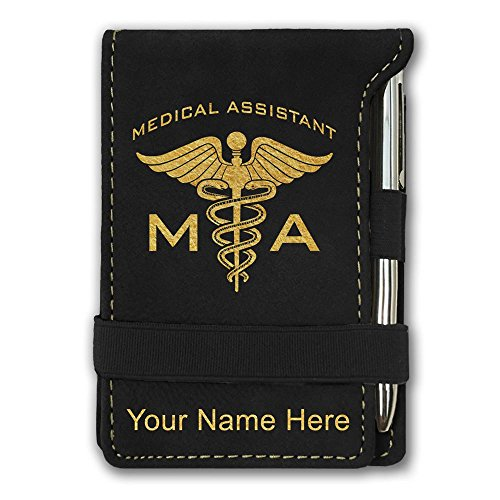 Mini Notepad, MA Medical Assistant, Personalized Engraving Included (Black) by SkunkWerkz