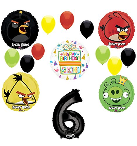 Angry Birds Party Supplies 6th Birthday Balloon Bouquet