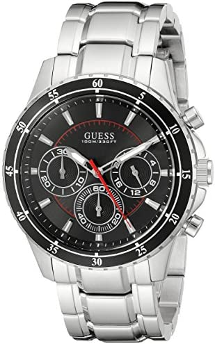GUESS Men s U0676G1 Silver-Tone Chronograph Watch with Black Dial