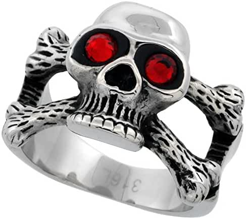 Stainless Steel Skull Ring and Cross Bones Red CZ Eyes Biker Rings for men 5/8 inch, sizes 9 - 15