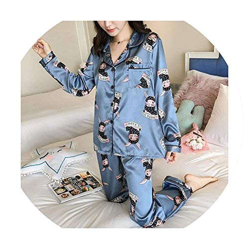 Best Rated for Winter Gift Long Sleeve Silk Women Lounge Pajama Sets Silk Satin Pijama Sleepwear Pyjamas,X-Large,ABlueRabbit (Silk Crochet Dress Yoke)