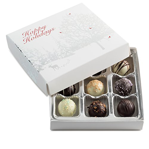 Gourmet Assorted Chocolate Truffles Happy Holidays Gift Box, The Perfect Touch of Holiday Cheer!
