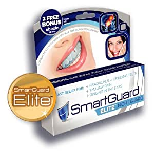 SmartGuard ELITE Night Guard-Designed by a TMJ Dentist-Dental night time mouth guard-For relief of grinding symptoms-For Large and small-Hot water Custom fit at home grinding teeth bite splint-Bruxism appliance-100% Guarantee even if your dog Eats it!