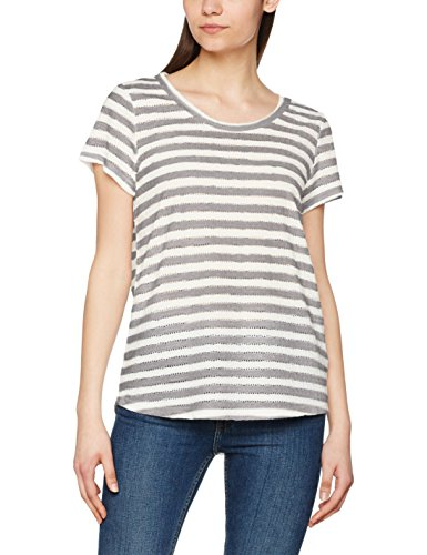VERO MODA Vmkaya Ss V-Neck Top Jrs, T-Shirt Femme, Multicolore (Snow White), 38 (Taille Fabricant: Medium)