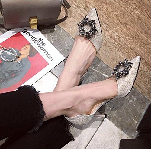 diamantes Ronda los Ajunr La de Con Señalaron elegante Lentejuelas Zapatos tacón 7cm de paño 38 alto de multa Moda banquetes Señoras zapatos La 38 Sandalias zapatos hebilla Transpirable Sexy BEIGE 0Y8rR0