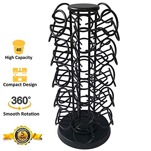 Coffee Pod Holder Carousel Holds 40 Single Cup Coffee Pods in Matte Black by Blacksmith Family (Image #1)