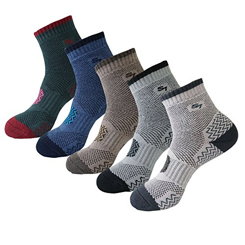 5pack Men's Full Cushion Mid Quarter Length Hiking Socks 5Pair Color Assortment (Round Running Sock)