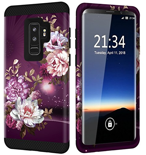 Galaxy S9 Plus Case w/Unique Floral Design, Hocase Sturdy 3-Piece Heavy Duty Shockproof Protection Hard Armor Cover Rubber Protective Case for Samsung Galaxy S9 Plus - Royal Purple/White Flowers