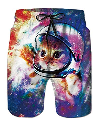 Kitty Baseball - TUONROAD Mens Summer Big and Tall Boardshorts Color Space Astronaut Kitty Cat 3D Printed Fun Floral Bathing Trunks Popular Big Boys Baseball Shorts with Mesh Liner
