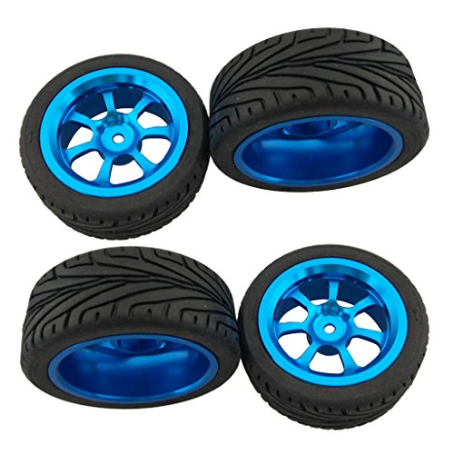 Homyl Set of 4Pc Alloy Rims & Tires RC Car Wheels for 1/18 WL Toys A949 A959 A969 Parts Replacements