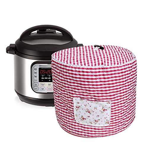 Lexvss Dust Cover, Anti-oil-smoke Cotton Bag for Electric Pressure Cookers, with Accessories Pocket, Family Essential Dust Cover for Instant Pot 6qt, by Lexvss【Red and White Gingham】 by lexvss