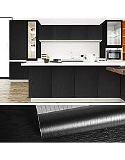 VEELIKE Självhäftande film träutseende trä film tapet vintage mönster tapet svart sovrum möbelfolie träfolie 60 cm x 900 cm självhäftande tapeter dekorativa folie för möbler skåp vägg