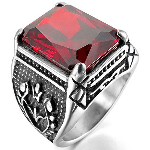 MoAndy Jewelry Mens Stainless Steel Rings Crystal Silver Red Gothic Size 8