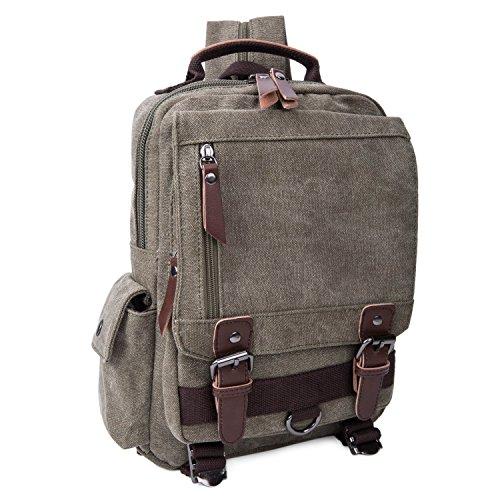 Vintage Canvas Laptop Backpack School College Rucksack Bag (Army green) - 5