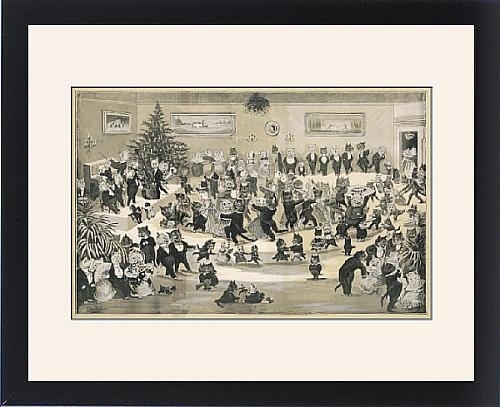 Framed Print of A Cat s Christmas Dance by Louis Wain by Prints Prints Prints