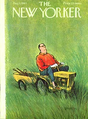 New Yorker cover Saxon man on lawn tractor 8/3 1963