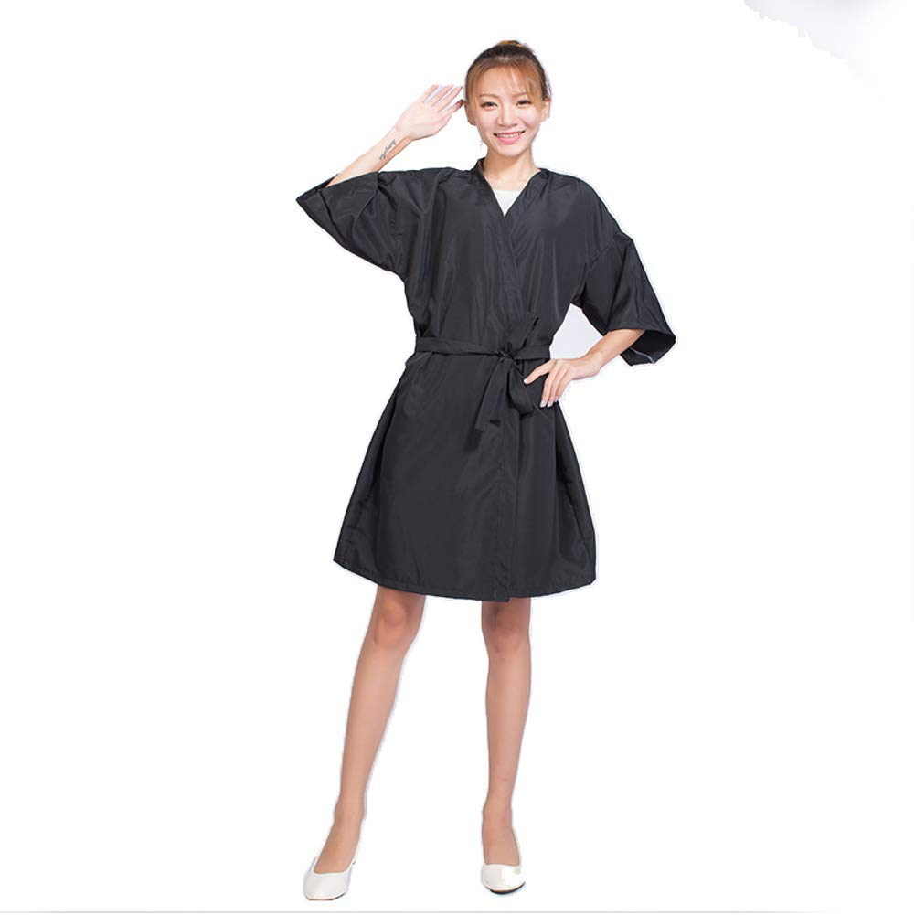 Case of 10 Packs, Kimono Style Salon Client Gown Robes Salon Smock Black by Lanburch (Image #2)