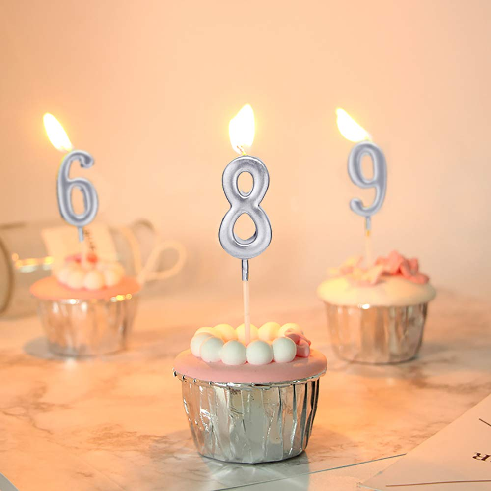 ZZPRO 10 PCS Cake Numeral Candles Number 0-9 Glitter Cake Topper Decoration for Birthday Favor,Party Celebration Birthday Numeral Candles