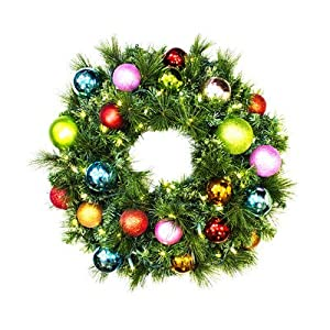 Queens of Christmas WL-GWSQ-03-TROP-LWW Pre-Lit LED Sequoia Christmas Wreath Decorated with The Tropical Ornament Collection, 3', Warm White 18