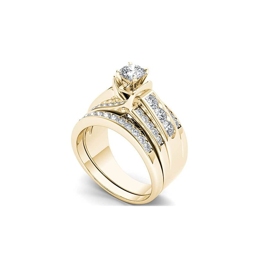 1 1/4 Carat TDW Round Cut Diamond 14k Yellow Gold Classic Bridal Set (HI I2)