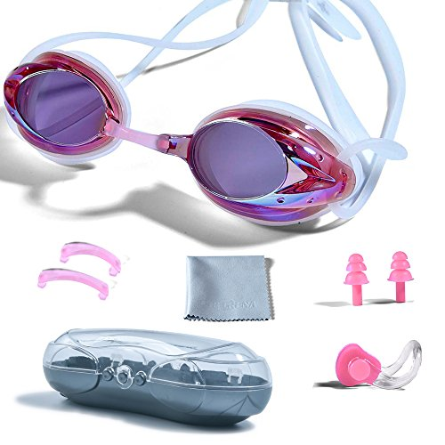 PHELRENA Swimming Goggles, Professional Swim Goggles Anti Fog UV Protection No Leaking for Adult Men Women Kids Swim Goggles with Nose Clip, Ear Plugs, Protection Case and Interchangeable Nose (Anti Fog Swimming Goggles)