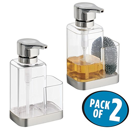 mDesign Liquid Hand/Dish Soap Dispenser Pump Bottle for Kitchen Sink, Counter tops with Sponge/Scrubby Caddy Organizer - Pack of 2, Clear/Brushed