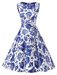 Ensnovo Womens Vintage 1950s Sleeveless Retro Floral Print Rockabilly Swing Dress