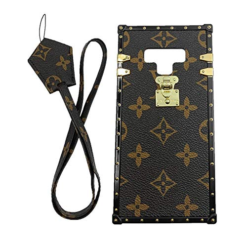 jiehao Samsung Galaxy Note 9 Case, Vintage Elegant Luxury Designer Monogram PU Leather Back with Lanyard Soft Bumper Shock Absorption Trunk Case Cover Protective Phone Case for Note 9 6.4