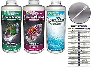 General hidroponía floranova crecer y Bloom 1Gallon & florakleen Bundle w/gothydro conversión tarjeta & pipeta