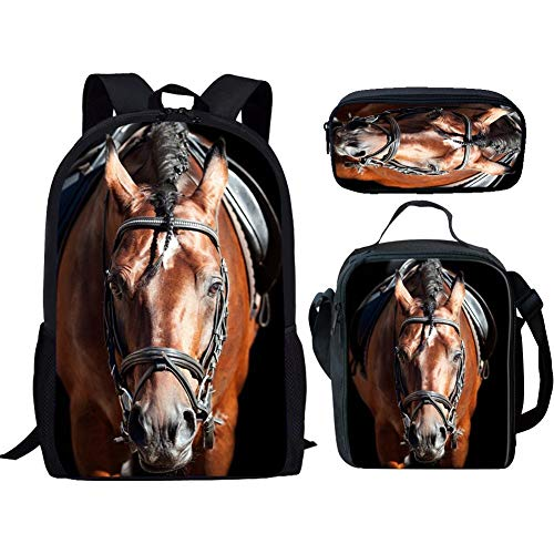 (RSHSJCZZY Pretty Print Backpack Teen Girls School Bag Travel Backpack horse set 2)