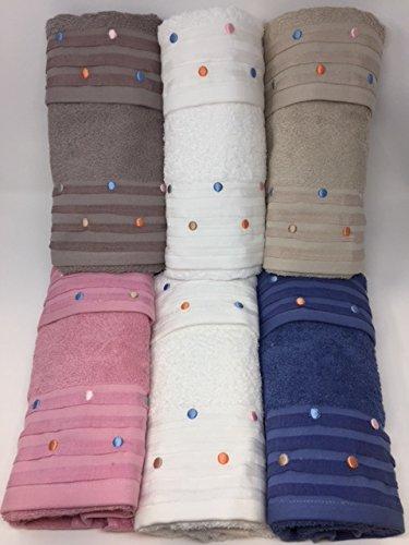 Juego toallas 6 + 6 bordadas vingi Art. Giada bordado lunares: Amazon.es: Hogar